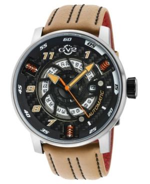 Men's Motorcycle Swiss Automatic Tan Italian Leather Strap Watch 48mm