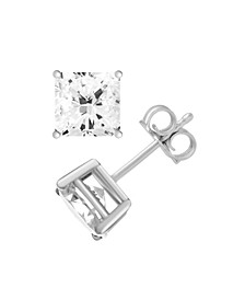 Silver Plate Cubic Zirconia 7.5mm Square Stud Earring