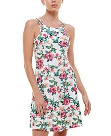 Juniors' Floral Fit & Flare Dress