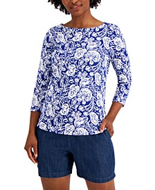 Petite Cotton Garden-Print Top, Created for Macy's