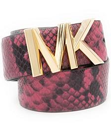 Reversible Faux Snakeskin Leather Belt