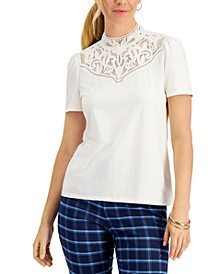 Petite Embellished Mock-Neck Top, Created for Macy's