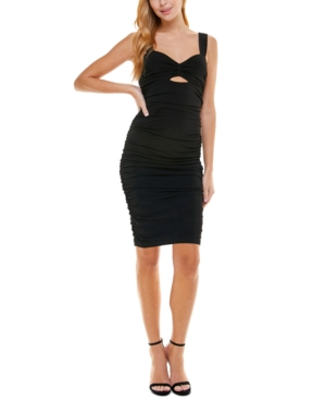 Juniors' Ruched Cutout Bodycon Dress