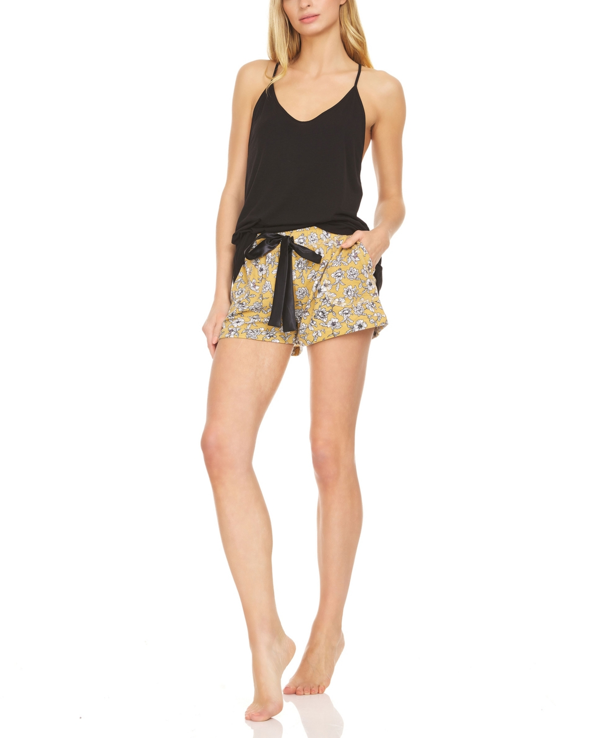 Flora Nikrooz Collection Women's Jillian Solid Knit Tank with French Terry Short, 2 Piece
