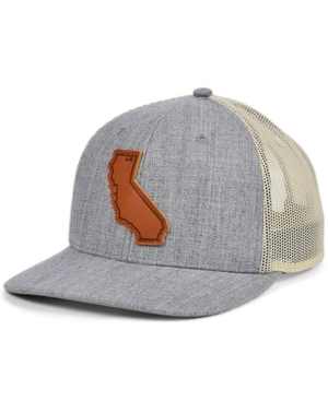 Local Crowns California Heather Leather State Patch Curved Trucker Cap