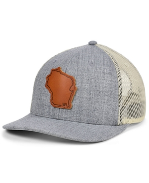 Local Crowns Wisconsin Heather Leather State Patch Curved Trucker Cap