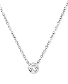 """Lab-Created Diamond Bezel Solitaire Pendant Necklace (1/5 ct. t.w.) in Sterling Silver, 18"""" + 2"""" extender"""