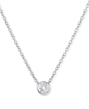 Lab-Created Diamond Bezel Solitaire Pendant Necklace (1/5 ct. t.w.) in Sterling Silver