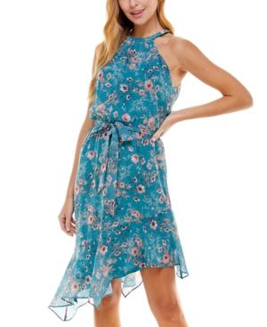 Juniors' Asymmetrical Fit & Flare Dress