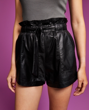 Women's Faux-Leather Paperbag Shorts