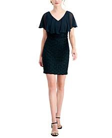 Petite Cape-Overlay Jacquard Dress