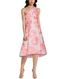 One-Shoulder Floral A-Line Dress