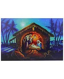 LED Fibre Optic Lighted Nativity Scene Christmas Wall Art