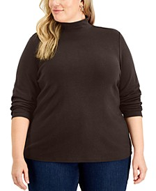 Plus Size Mock-Neck Top, Created for Macy's