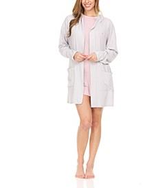 Women's Sweater Knit Rib Lounge Cardigan Robe with Hood, Comfy Lounge Sleepwear