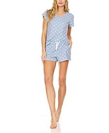 Women's Logo Print Jersey Short Sleeve V-Neck T-Shirt and Shorts, Pajama Lounge Comfy Sleepwear Set, 2 Piece