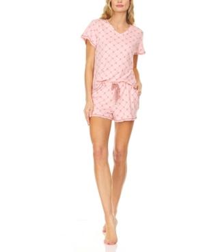 Women's Logo Print Jersey Short Sleeve V-Neck T-Shirt and Shorts