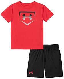 Little Boys Ombre Base Short Sleeve Tee and Shorts Set