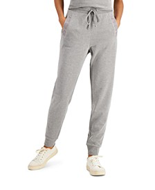 Petite Eyelet-Trim Tapered-Leg Jogger Pants, Created for Macy's