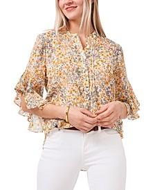 Daisy Patch Flutter-Sleeve Top