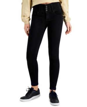 Juniors' Triple Button Skinny Jeans