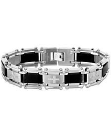 Men's Cubic Zirconia Cross Link Bracelet in Stainless Steel & Black Ion-Plate