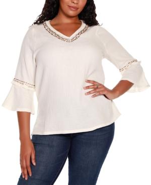 Black Label Plus Size 3/4 Sleeve Embellished Gauze Tunic Top
