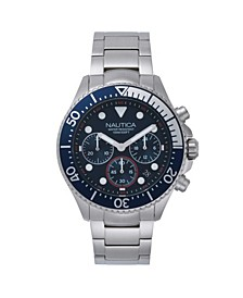 Men's Chronograph Silver-Tone Stainless Steel Bracelet Watch 44mm