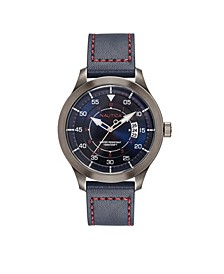 Men's Analog Blue Leather Strap Watch 44mm