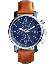 Men's Rhett Chronograph Silver-Tone Leather Watch 42mm