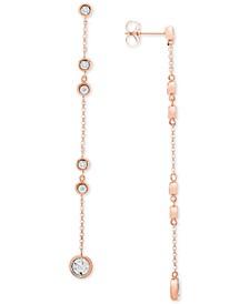 Diamond Bezel Linear Drop Earrings (1/8 ct. t.w.) in 10k Rose Gold