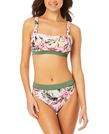 Juniors' Floral-Print Contrast-Band Bralette Bikini Top & Bottoms