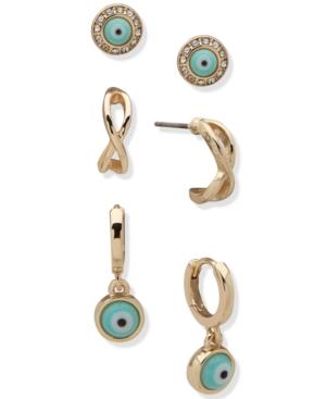 Gold-Tone 3-Pc. Set Evil Eye Earrings