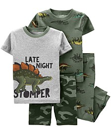 Toddler Boys Dinosaur Snug Fit Pajama, 4 Piece Set