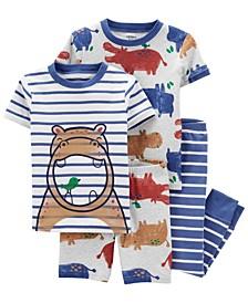 Baby Boys Hippo Snug Fit Pajama, 4 Piece Set