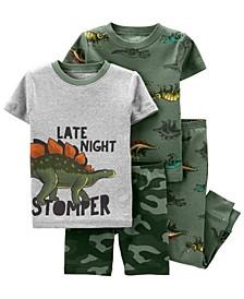 Baby Boys Dinosaur Snug Fit Pajama, 4 Piece Set