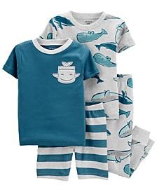 Baby Boys Whale Snug Fit Pajama, 4 Piece Set
