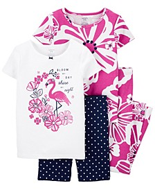 Little Girls Floral Snug Fit Pajama, 4 Piece Set