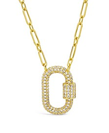 Women's Pave Cubic Zirconia Carabiner Gold Plated Lock Necklace