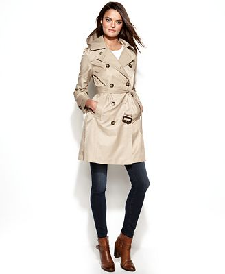 London Fog Petite All-Weather Hooded Trench Coat - Coats - Petites ...