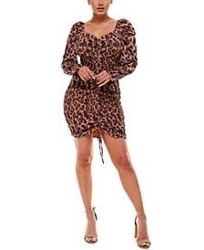 Animal-Print Smocked Bodycon Dress