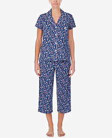 Petite Floral-Print Capri Pants Pajama Set