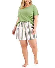 Plus Size Pajama T-Shirt & Woven Pajama Shorts, Created for Macy's