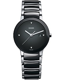 Rado Watch, Women's Swiss Centrix Diamond Accent Stainless Steel and Black Ceramic Bracelet 28mm R30935712