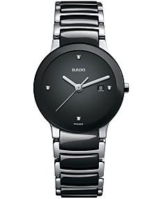 1e71731ca Rado Watch, Women's Swiss Centrix Diamond Accent Stainless Steel and Black  Ceramic Bracelet 28mm R30935712