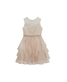 Big Girls Lace Dress with Cascade Mesh Skirt