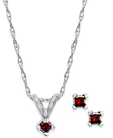 10k White Gold Red Diamond Necklace and Earrings Set (1/10 ct. t.w.)