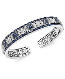 Sapphire (2-3/4 ct. t.w.) and Diamond (1/10 ct. t.w.) Cuff Bangle Bracelet in Sterling Silver