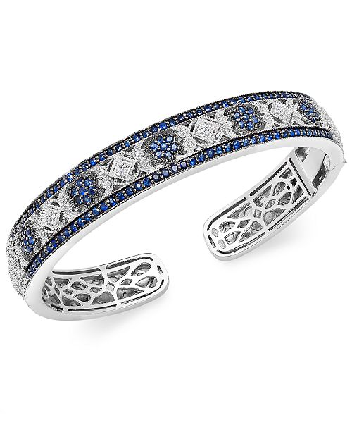 Macy's Sapphire (2-3/4 ct. t.w.) and Diamond (1/10 ct. t.w.) Cuff Bangle Bracelet in Sterling Silver