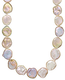 Sterling Silver Pink Keshi Pearl Necklace (12-15mm)
